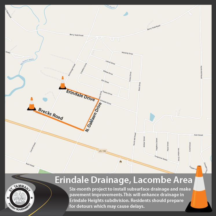 Nearly $1 Million in Drainage and Roadway Improvements will Benefit Lacombe Area Neighborhoods