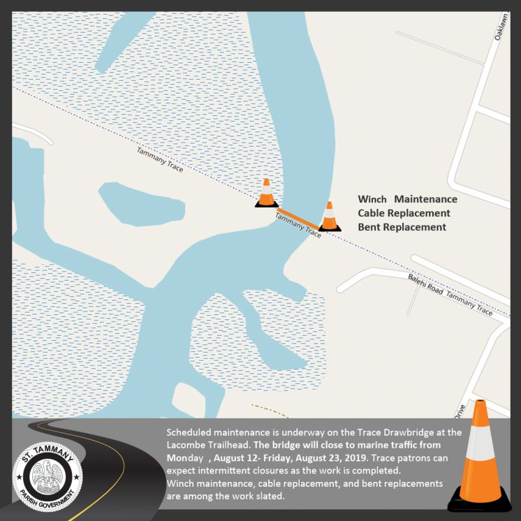 Improvements Begin on the Tammany Trace Bridge over Bayou Lacombe