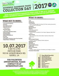 Household Hazardous Waste Collection Day Scheduled for October 7, 2017 in St. Tammany