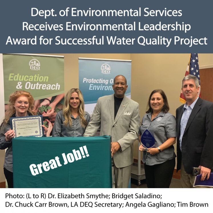 St. Tammany Parish Department of Environmental Services Receives Environmental Leadership Award for Successful Water Quality Project