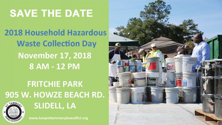 Keep St. Tammany Beautiful to Host Fall Household Hazard Waste Collection Day in Slidell (And other important KSTB News)