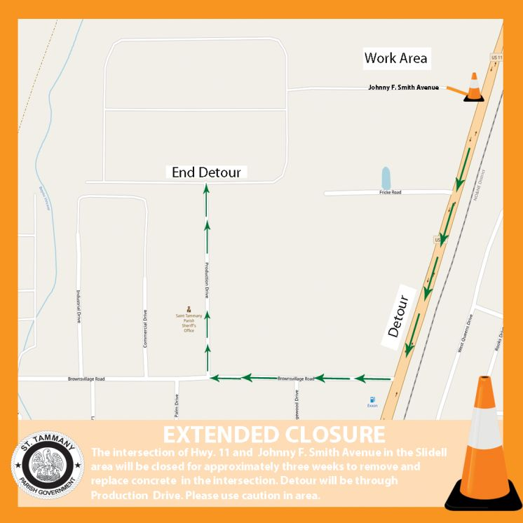 Roadway Improvements Necessitate Extended Closure For Johnny F. Smith Avenue in Slidell Area
