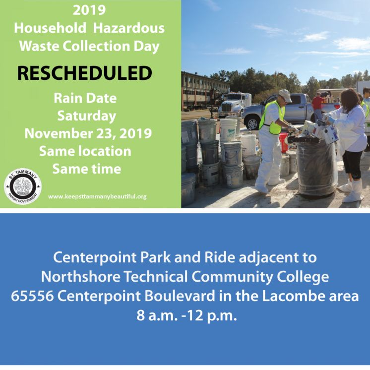 Household Hazardous Waste Collection Day Rescheduled Due to the Forecast of Severe Weather