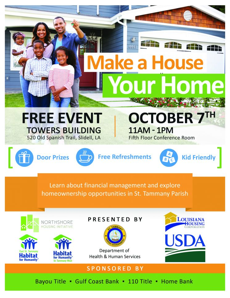 Make a House Your Home Event Will Explore Homeownership Opportunities in St. Tammany