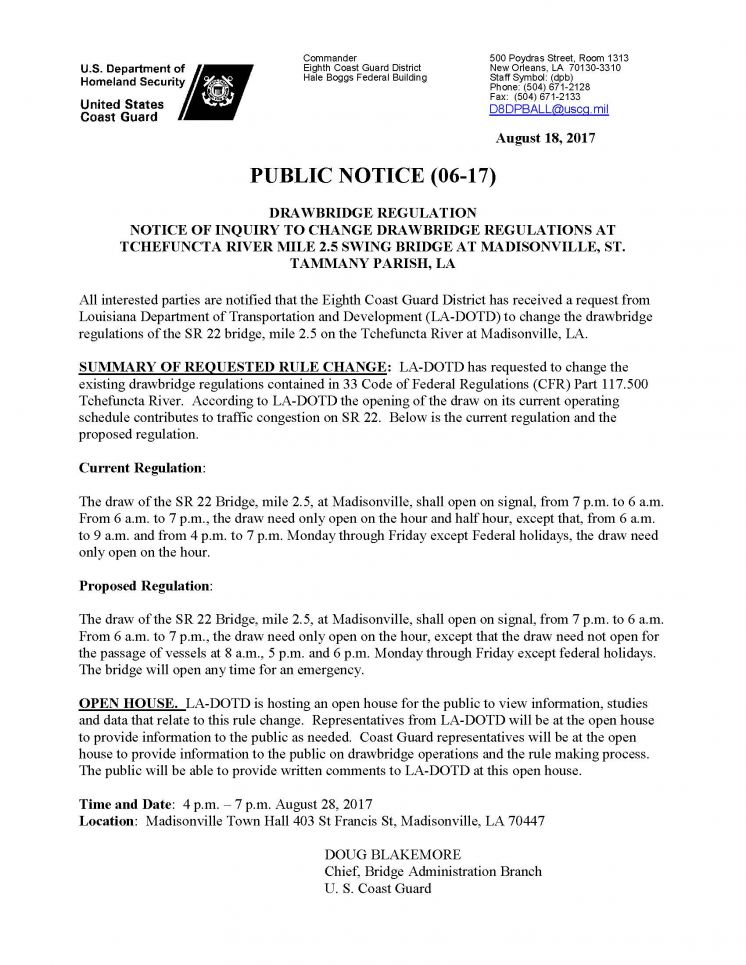 OPEN HOUSE: Tchefuncte River Drawbridge Regulations Proposal