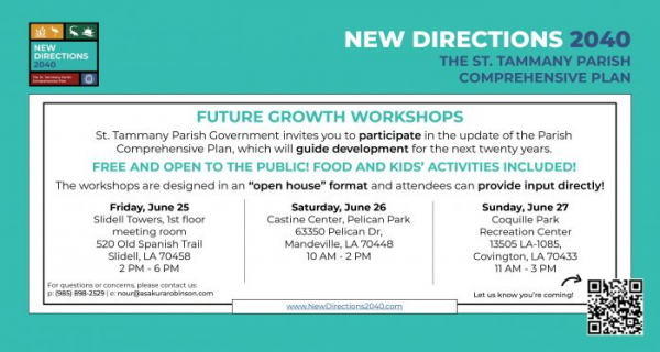 """St. Tammany Parish Announces In-Person New Directions 2040 """"Future Growth"""" Workshops"""